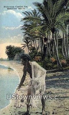Fisherman Casting Net - Hawaiian Islands Postcards, Hawaii HI Postcard
