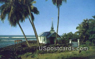 Blue Church of St Peters by the Sea - Kona, Hawaii HI Postcard