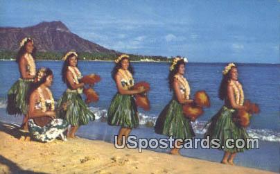 Hula on the Beach - Waikiki, Hawaii HI Postcard