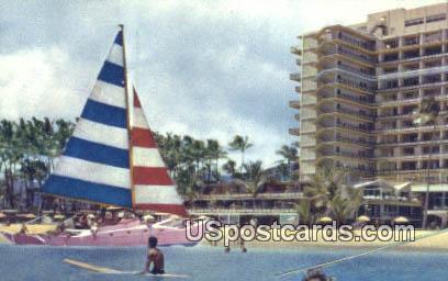 Hawaiian Village Hotel - Catamaran Postcard