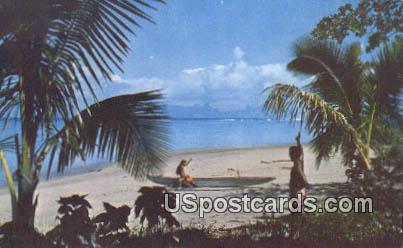 Tahitit's Renowned Beach - Punaauia, Hawaii HI Postcard