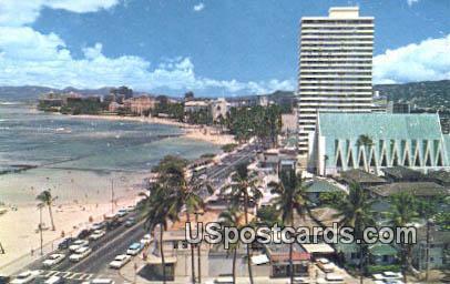 Kalakaua Avenue - Waikiki, Hawaii HI Postcard