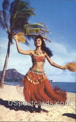 Tahitian Dancer - Waikiki, Hawaii HI Postcard