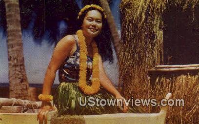 Hawaiian Hula Girl - Waikiki Postcard