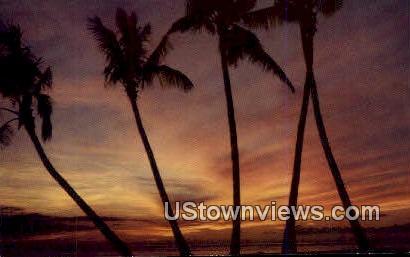 Sunset at Waikiki - Hawaii HI Postcard