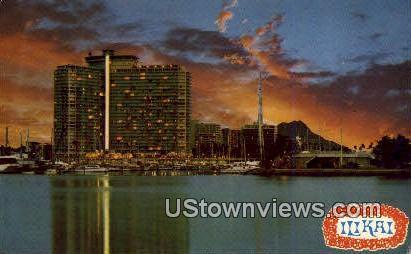 Diamond Head, Ilikai Hotel - Waikiki, Hawaii HI Postcard