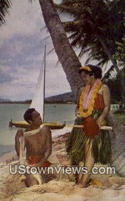 Hawaiian Fisherman - Hawaii Postcards Postcard