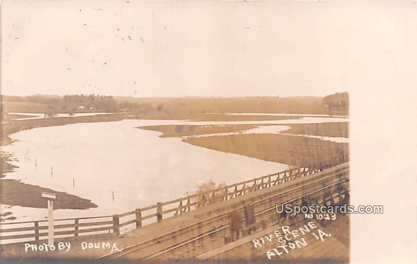River Scene - Alton, Iowa IA Postcard