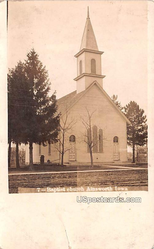 Baptist Church - Ainsworth, Iowa IA Postcard