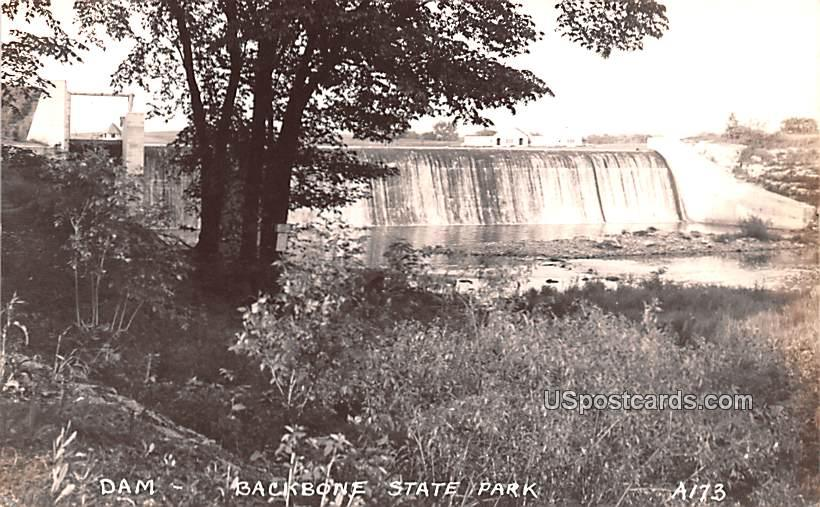 Dam - Backbone State Park, Iowa IA Postcard