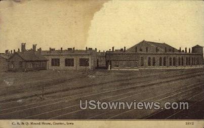 C. B. & Q. Round House - Creston, Iowa IA Postcard