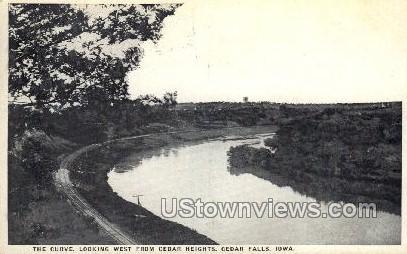 The Curve, Looking West from Cedar Heights - Cedar Falls, Iowa IA Postcard