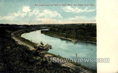 The Curve from the Park on Cedar River - Cedar Falls, Iowa IA Postcard