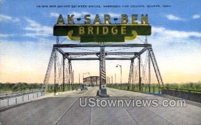 Ak-Sar-Ben Bridge  - Council Bluffs, Iowa IA Postcard