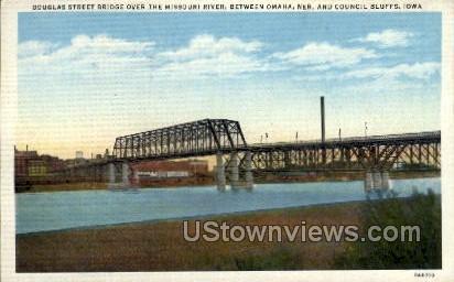 Douglas Street Bridge Over the Missouri River - Council Bluffs, Iowa IA Postcard