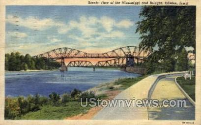 Scenic View of the Mississippi and Bridges - Clinton, Iowa IA Postcard