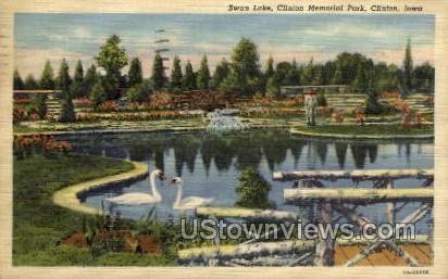 Swan Lake, Clinton Memorial Park - Iowa IA Postcard