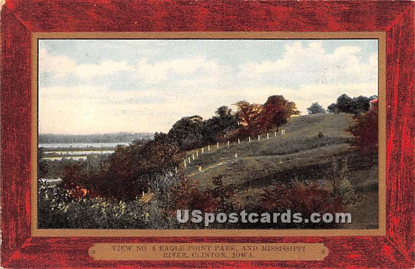 Eagle Point Park, and Mississippi River - Clinton, Iowa IA Postcard