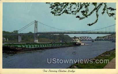 Tow Passing Clinton Bridge - Iowa IA Postcard
