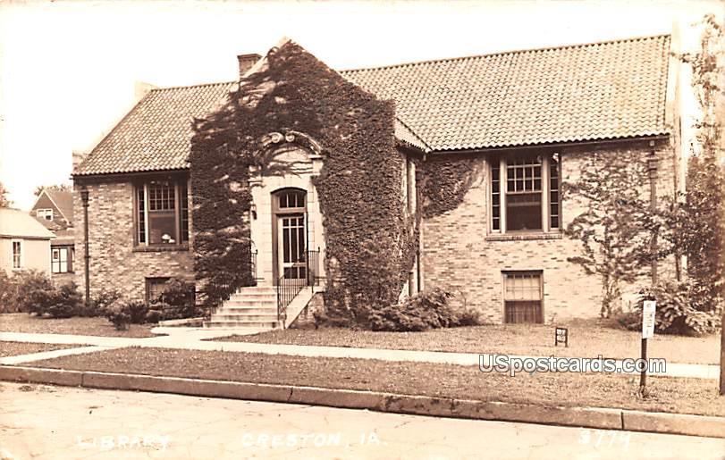 Library Building - Creston, Iowa IA Postcard