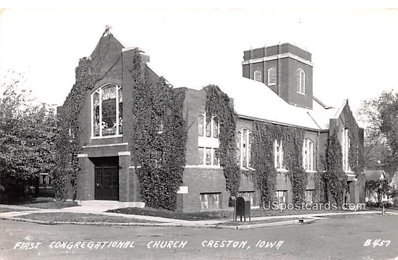 First Congregational Church - Creston, Iowa IA Postcard
