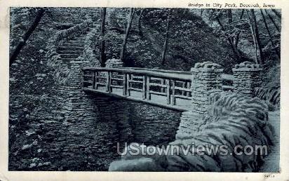 Bridge in City Park - Decorah, Iowa IA Postcard