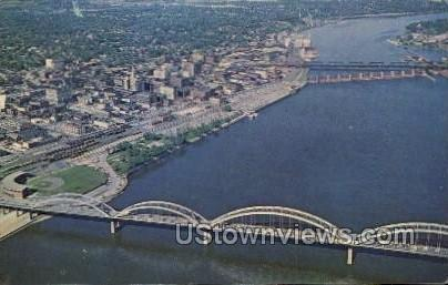 Aerial Picture of the Mississippi - Davenport, Iowa IA Postcard