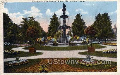 Fountain, Vanderveer Park - Davenport, Iowa IA Postcard
