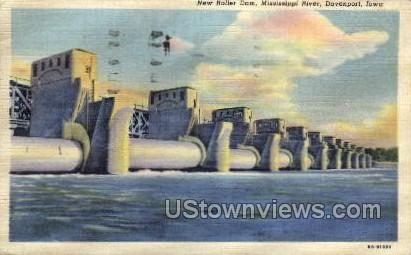 New Roller Dam, Mississippi River  - Davenport, Iowa IA Postcard