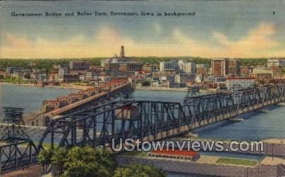 Government Bridge and Roller Dam - Davenport, Iowa IA Postcard