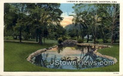 Lagoon in Vanderveer Park - Davenport, Iowa IA Postcard