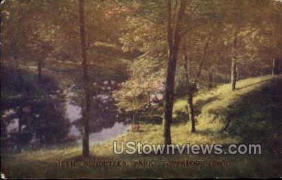 Deer-Schuetzen Park - Davenport, Iowa IA Postcard