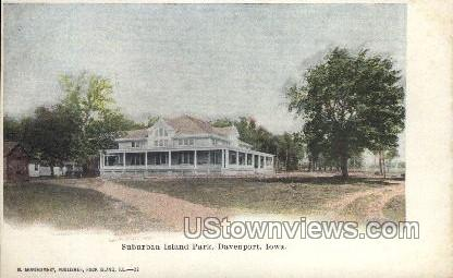Suburban Island Park - Davenport, Iowa IA Postcard
