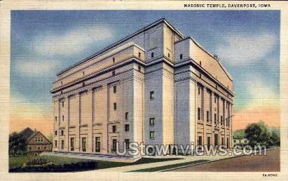 Masonic Temple - Davenport, Iowa IA Postcard