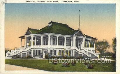Pavilion, Vander Veer Park  - Davenport, Iowa IA Postcard