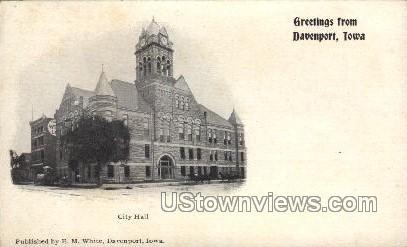 City Hall - Davenport, Iowa IA Postcard