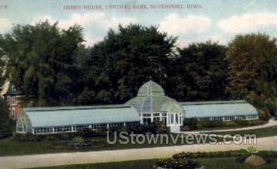 Green House, Central Park - Davenport, Iowa IA Postcard