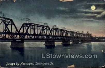 Bridge By Moonlight - Davenport, Iowa IA Postcard