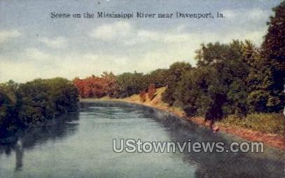 Scene on the Mississippi River - Davenport, Iowa IA Postcard