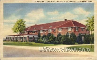 Clubhouse Credit Island Public Golf Course - Davenport, Iowa IA Postcard
