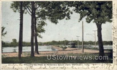 Crossing the Dam to Suburban Island Park - Davenport, Iowa IA Postcard