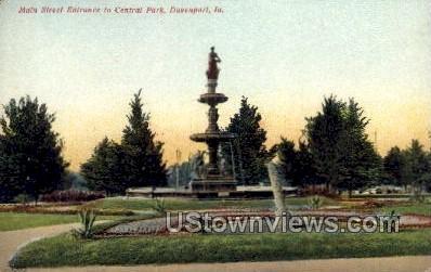 Main Street Entrance to Central Park  - Davenport, Iowa IA Postcard