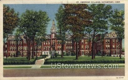 St. Ambrose College - Davenport, Iowa IA Postcard