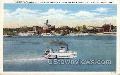 Skyline of Davenport, Ferry Boat - Iowa IA Postcard