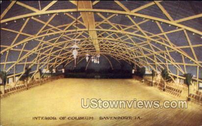 Interior of Coliseum - Davenport, Iowa IA Postcard