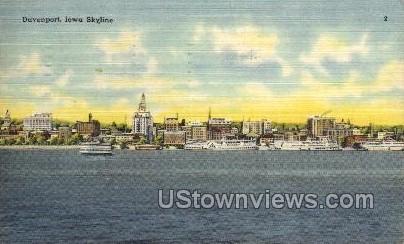 Davenport, Iowa Skyline Postcard