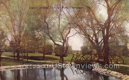 Rustic Bridge, Central Park - Davenport, Iowa IA Postcard