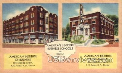 America's Leading Business Schools - Davenport, Iowa IA Postcard