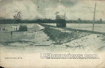 Crossing the Dam on the Way to Grand Isle - Davenport, Iowa IA Postcard