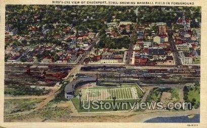 Bird's Eye View of Davenport, Baseball Field - Iowa IA Postcard